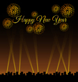 City at night with spotlights and golden fireworks vector image
