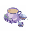 Coffee or Tea cup with lavender Macaroons vector image