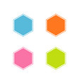 collection of colorful stitched hexagon shape vector image vector image