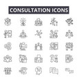 consultation line icons for web and mobile design vector image vector image