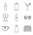 cup icons set outline style vector image vector image