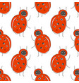 cute cartoon seamless pattern with funny red bug vector image