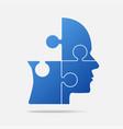 design blue puzzle piece head - jigsaw vector image vector image