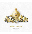 easter cute eggs set with white bunny and chicken vector image vector image