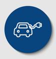 eco electric car sign white contour icon vector image vector image