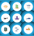 flat icon sea set of periscope alga tentacle and vector image vector image