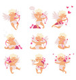 flat set of cute cupid in different actions vector image