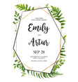 floral card design with green fern leaves herbs vector image