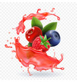 forest mixed berries juice splash realistic vector image vector image