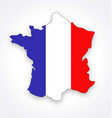france map simplified with french flag vector image vector image