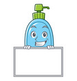 grinning with board liquid soap character cartoon vector image vector image