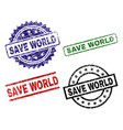grunge textured save world stamp seals vector image vector image