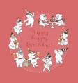 happy birthday card cute cartoon bears vector image