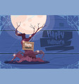 happy halloween banner scary old tree holiday vector image