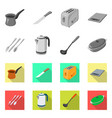 isolated object of kitchen and cook symbol set of vector image vector image