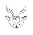line cute deer head wild animal vector image vector image