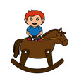little boy with wooden horse toy vector image vector image