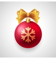 Merry Christmas card with red bauble and gold vector image vector image