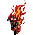 motorcycle racing with fire vector image vector image