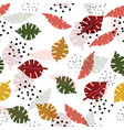 multicolor monstera leaves hand drawn seamless vector image vector image