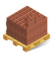 pallet with building bricks realistic isometric vector image