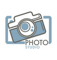 photo studio camera with glass lens in frame vector image