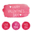 Pink Valentines Day watercolor elements vector image