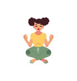 plump obese woman meditate vector image vector image