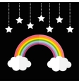 Rainbow and two white clouds Stars hanging on vector image vector image