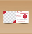 red gift voucher design template vector image vector image