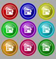 Retro Radio icon sign symbol on nine round vector image