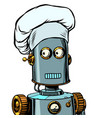 robot cook food takes orders at restaurant vector image vector image