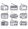 set black and white radio icons vector image
