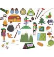 set camping adventure equipment icon vector image