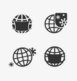 set icons in planet pandemics vector image vector image