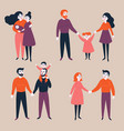 set of gay lgbt and traditional couples with child vector image vector image