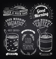 set vintage coffee labels on chalkboard vector image