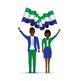 sierra leone flag waving man and woman vector image vector image