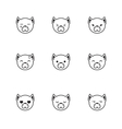 trendy line style set of funny cartoon dog vector image vector image