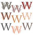 various combination fishnet letter w vector image vector image