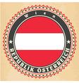 Vintage label cards of Austria flag vector image