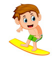 young surfer cartoon vector image vector image