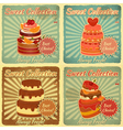 Set of Retro Cards with Cake vector image