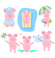 a set of funny pigs piggy sailor pigling with a vector image vector image