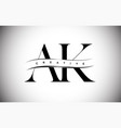 ak letter logo with serif letter and creative cut