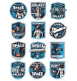 astronaut in galaxy rocket in outer space icons vector image vector image