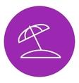 Beach umbrella line icon vector image vector image