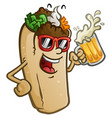 burrito cartoon drinking a cold mug beer vector image vector image