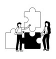 business people puzzles vector image vector image