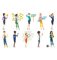 business woman stewardess doctor profession set vector image vector image